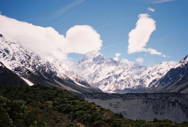 Mt. Cook, its peak barely obscured by cloud