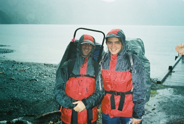 Kate and Dorian at the start of the Milford Track