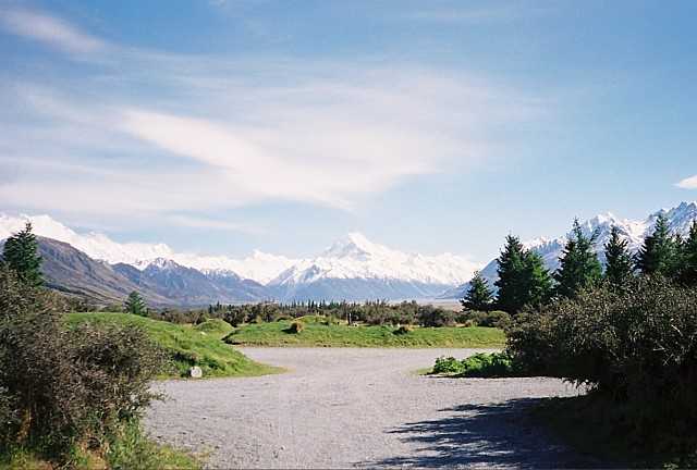 View from our doorstep -- Mt. Cook, straight ahead.