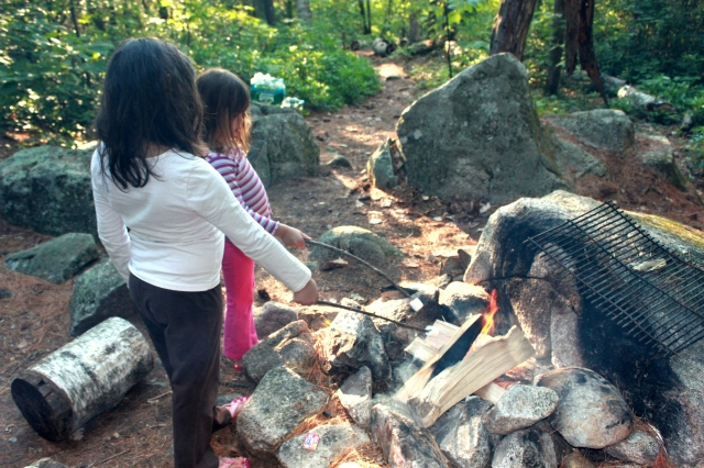 Toasting marshmallows for s'mores