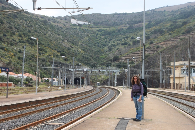 Kate at the Cerbere train station