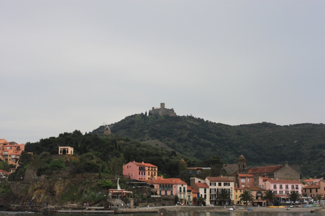 Collioure, France. The windmill and fortress on the hillside are part of the walk on Day 2. (Click to enlarge.)