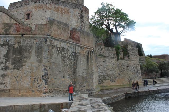 I stand beneath the Château Royal de Collioure