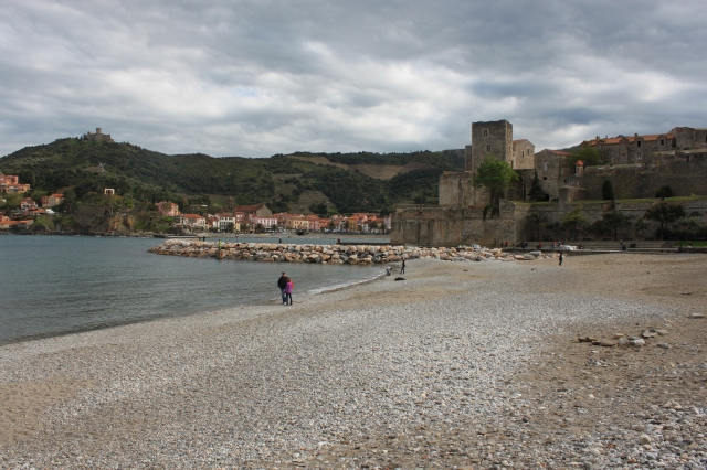 View of the Château Royal de Collioure from the beach.