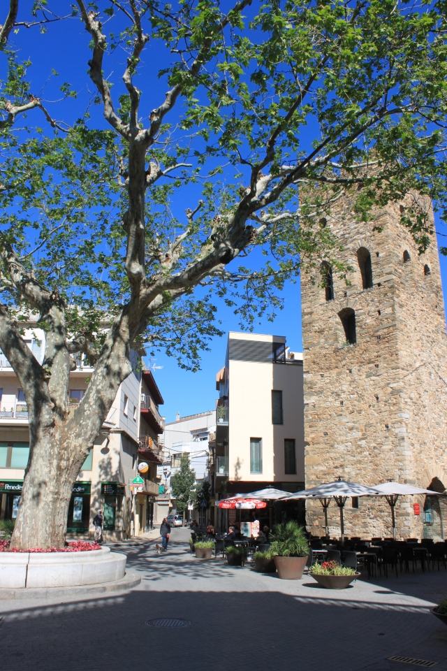 A small plaza in Llanca, with its prerequisite tree and tower.