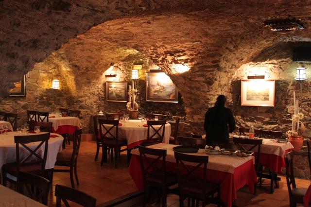 The funky vaulted restaurant at the Hostal La Tina, Port de la Selva.